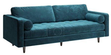 Photo pour Sofa bleu classique d'isolement sur le fond blanc. Illustration numérique.3d rendu - image libre de droit