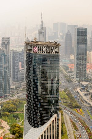 Photo for SHANGHAI, CHINA - MAR 31, 2016: View of the Shanghai buildings from the Oriental Pearl Radio and TV Tower. - Royalty Free Image