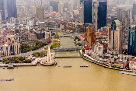 Photo for SHANGHAI, CHINA - MAR 31, 2016: Panoramic view of Shanghai from the Oriental Pearl Radio and TV Tower. - Royalty Free Image