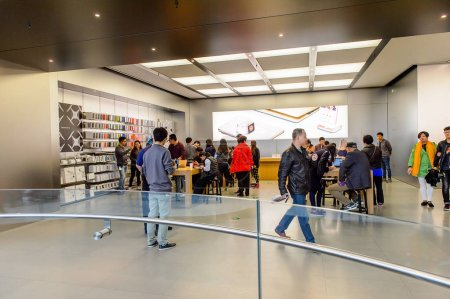 Photo for SHANGHAI, CHINA - MAR 31, 2016: Apple store at the Nanjing Road in Shanghai. Apple is the multinational technology company headquartered in Cupertino, California, - Royalty Free Image
