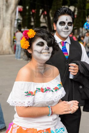 PUEBLA, MEXICO - OCT 30, 2016: Unidentified couple...