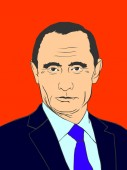February 19 2019: The color illustration of a portrait of President Vladimir Putin in a dark blue suit on a red background eps 8 editorial use only