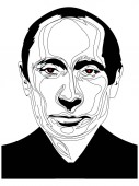 February 26 2019: Simple black and white line drawing illustration of President Vladimir Putin eps 8 editorial use only