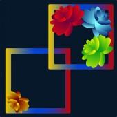 Abstract illustration Decorative pattern Flowers on dark blue background
