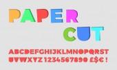Paper cut letters font vector papercut 3D alphabet