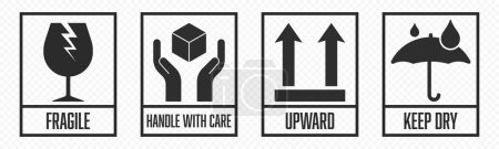 Illustration for Fragile package icons set, handle with care logistics and delivery shipping labels. Fragile box, cargo warning vector signs - Royalty Free Image
