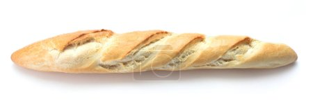 Photo for Single loaf of fresh baked baguette bread isolated on white background - Royalty Free Image