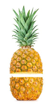 Photo for Two halves of ripe pineapple fruit isolated on white background - Royalty Free Image