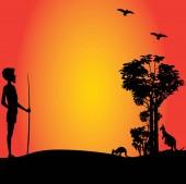An Australian aborigine man hunting in outback Australia