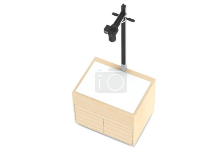 Photostudio. A table with an illumination and a tripod for shooting subjects from above with an isolated background.  3D-model rendering of the table for shooting from above.