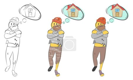 Illustration pour Un SDF avec des vêtements déchirés rêve d'une maison. Problèmes du concept de sans-abri. Tramp cherche refuge. Un chômeur. Un homme gelé. Elle souffre du froid. Illustration vectorielle de doodle dessinée à la main . - image libre de droit