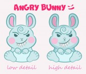 Little vector cute evil bunny is sitting with a terrible smile i