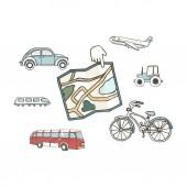 Transport 8 icons Trasportation Vintage Flat color Concept Airplane car bike Hand drawn illustration grunge style texture clip art on white background