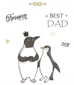 Best Dad Happy Fathers Day white background Greeting birthday holidays card template Pinguin clip art Geometric gift card Best father Dreamer dad Text data ready card Vector