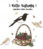 Crow and Sparrows character clip art vector forest animal autumn card full ribbon cute wildlife text cat garden basket card celebration texture white background