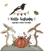 Crow and Bunny character clip art vector forest animal autumn card full ribbon cute wildlife text cat garden basket for greeting birthday card white background