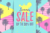 SUMMER SALE up to 30 OFF card with pattern of hand drawn palm trees Retro tropical bargain sale Horizontal discount poster for seasonal advert Deal banner
