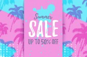 SUMMER SALE up to 50 OFF card with pattern of hand drawn palm trees Retro tropical bargain sale Horizontal discount poster for seasonal advert Deal banner