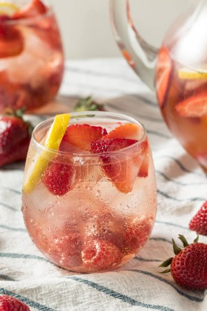 Photo for Homemade Berry Rose Sangria with Lmeon Ready to Drink - Royalty Free Image