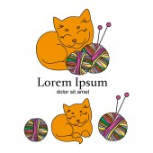 CAT KNITTER Cartoon Animal Vector Illustration Logo Set for Business Print Fabric and Decoration