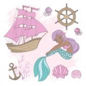 SHIP MERMAID Girl Princess Cartoon Sea Ocean Summer Tropical Cruise Vacation Vector Illustration Set for Print Fabric and Decoration
