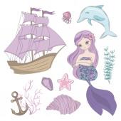 SIREN Mermaid Girl Princess Cartoon Sea Ocean Summer Tropical Cruise Vacation Vector Illustration Set for Print Fabric and Decoration