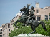 WASHINGTON, DC  MAY 15, 2018- Statue of Andrew Jackson from the Battle of New Orleans in Lafayette Square in Washington, DC