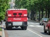 WASHINGTON, DC  MAY 15, 2018- Dunbar armored truck parked on a street