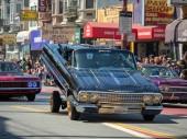 SAN FRANCISCO, CA  MAY 27, 2018- Man demonstrating his hydraulic low rider at the Carnaval Grand Parade in San Franciscos Mission District
