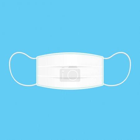 Illustration pour Masque médical ou masque de protection isolé sur fond bleu, masque de protection N95, masque respirateur protéger la poussière portant la pollution de l'air extérieur PM 2,5 dans la protection contre la poussière, dessin animé icône plate de l'infographie - image libre de droit