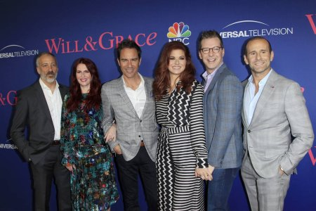 """LOS ANGELES - JUN 9:  David Kohan, Megan Mullally, Eric McCormack, Debra Messing, Sean Hayes, Max Mutchnick at the """"Will & Grace"""" FYC Event  at the Harmony Gold Theatre on June 9, 2018 in Los Angeles, CA"""