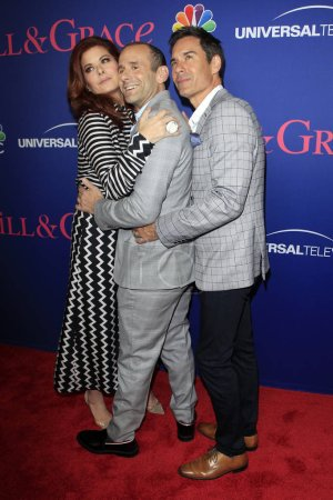 """LOS ANGELES - JUN 9:  Debra Messing, Max Mutchnick, Eric McCormack at the """"Will & Grace"""" FYC Event  at the Harmony Gold Theatre on June 9, 2018 in Los Angeles, CA"""