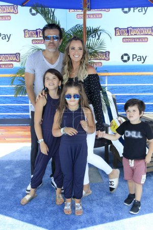 "LOS ANGELES - JUN 30:  Edwin Arroyave, Teddi Mellencamp Arroyave, children at the ""Hotel Transylvania 3: Summer Vacation"" World Premiere at the Village Theater on June 30, 2018 in Westwood, CA"