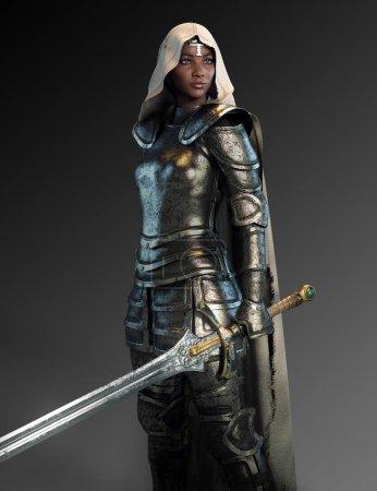 Foto de Mujer caballero en armadura con espada y capa con capucha - Imagen libre de derechos