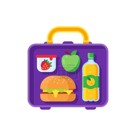 Illustration for School lunch in open lunchbox. Healthy dinner in food box kids break time. Schoolkid meal healthy food bag with hamburger sandwich, apple orange juice and snacks container cartoon vector illustration - Royalty Free Image