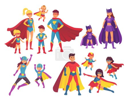 Illustration for Superhero family characters. Superheroes character in costumes with hero cape silhouette for comics. Wonder mom, super dad and children boy girl kid heroes in mask and cloak isolated vector icon set - Royalty Free Image