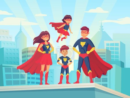 Illustration for Cartoon superhero family. Mom dad and childrens in superheroes costumes cape cloak and mask. Super hero parents father mother silhouette and boy girl kids heroes on cityscape comic vector illustration - Royalty Free Image