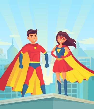 Super heroes. Comic couple superhero, cartoon man and woman in red cloaks on roof of city. Justice vector concept