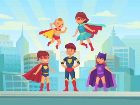 Illustration for Superhero kids team. Comic hero kid muscle in super costume with cloak cape fly on urban roof. Children superheroes playing brave invisible guardian for carnival or game vector cartoon illustration - Royalty Free Image