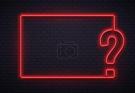 Neon question mark frame. Quiz lighting, interrogation point red neon lamp on bricks wall texture background 3d vector illustration