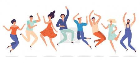 Illustration pour Les jeunes sautent. Groupe d'adolescents sautant, adolescents heureux riant étudiants et souriant personnes excitées. Liberté équipe humaine, élèves personnages groupe succès bonheur sauté plat vecteur illustration - image libre de droit