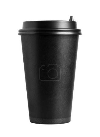 Front view of cardboard black coffee cup with lid isolated on white background