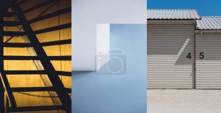 Set of three urban architecture background. Architectural exterior details