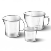 Isolated 3d realistic collection of glass vector measuring cups
