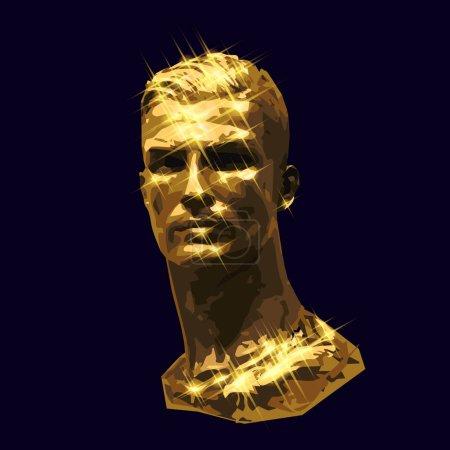 vector golden bust handsome man