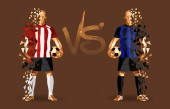 Red stripes and blue stripes soccer players holding vintage footballs representing two opposing teams standing isolated with a flat background and a versus sign between them vector illustration