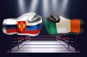 Boxing gloves with prints of Irish and Russian flags facing each