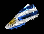 3d soccer football boot with print of flag of Uruguay isolated on dark background vector illustration