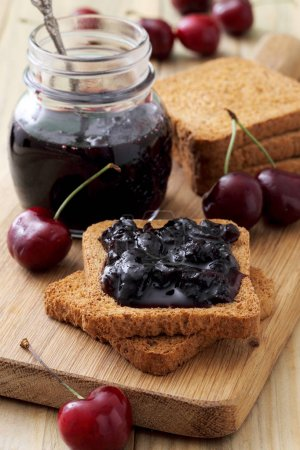 delicious cherry jam and toasts, tasty breakfast