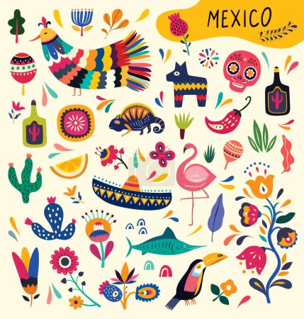 Mexican collection with symbols of Mexico. Mexican...